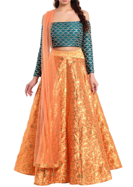 Dark peach lehenga with off shoulder teal blouse - Saree Safari, Buy