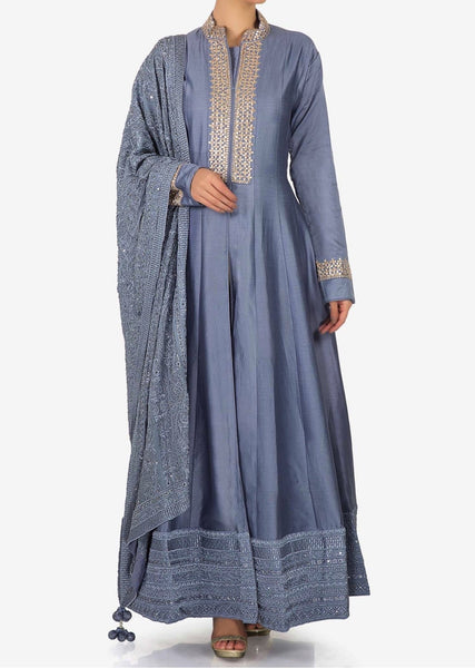 Lavender blue anarkali suit in silk with embroidered placket - Saree Safari, Buy