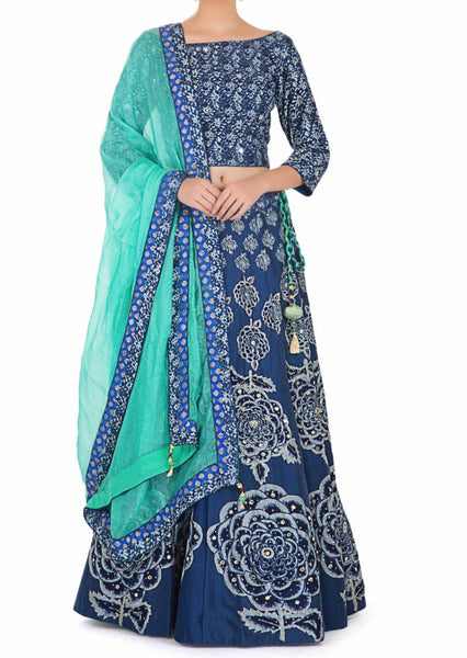 Printed Blue Cotton Top and Lehenga with Sequins and Silk Net Dupatta - Saree Safari, Buy