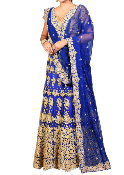 Royal blue lehenga in raw silk with resham and dori embroidery