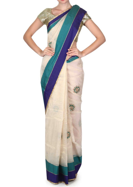 Dewy cream saree with contrast border - Saree Safari, Buy