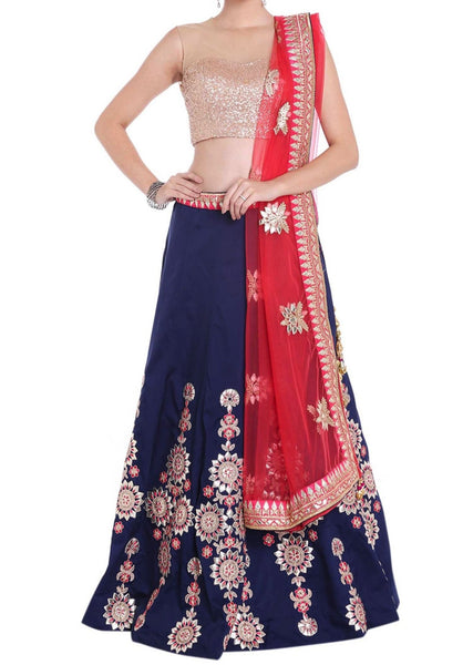 Navy blue lehenga in gotta patch and resham embroidered kali - Saree Safari, Buy