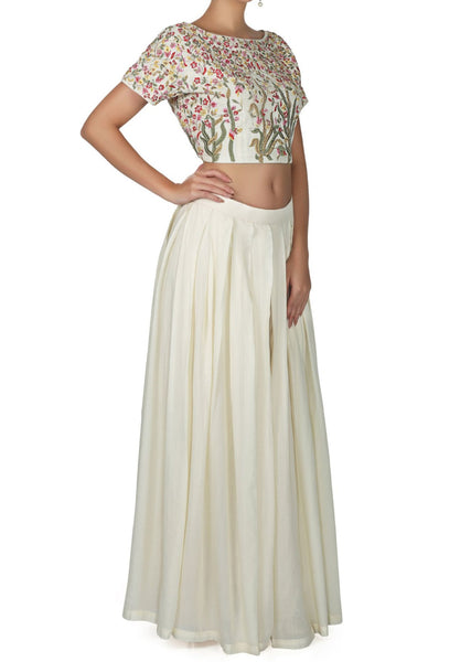 Off white skirt in georgette with crop top embroidered blouse - Saree Safari, Buy