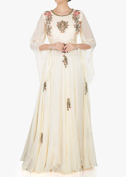 Off-white georgette dress beautified in zardosi and resham work only - Saree Safari, Buy