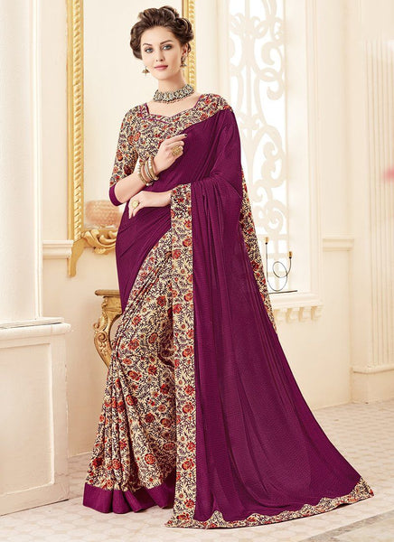 Crepe Silk Party Casual Printed Work Saree- dark purple - Saree Safari, Buy