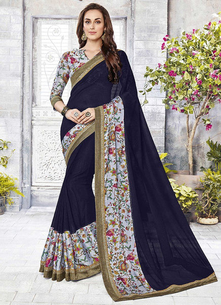 Catelog 6650: casual floral print trim sarees - Saree Safari, Buy