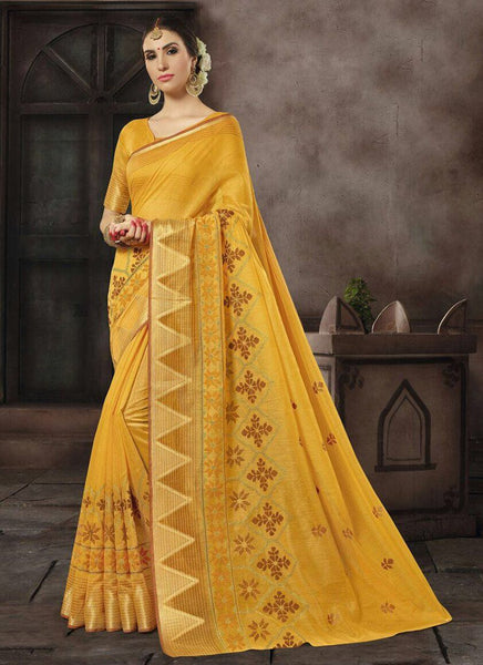 Cotton Silk Casual Wear Printed Work Saree- yellow 2 - Saree Safari, Buy