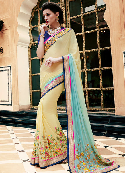 Multi Colour Party Wear Embroidered Work Saree- yellow sorbet - Saree Safari, Buy