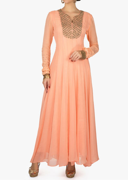 Peach anarkali suit in georgette with embroidered placket - Saree Safari, Buy