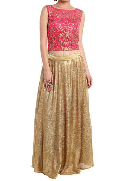 Rani pink crop top blouse in rani pink with gold shimmer skirt - Saree Safari, Buy
