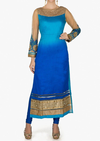 Blue shaded suit adorn in mirror and sequin embroidered yoke only - Saree Safari, Buy