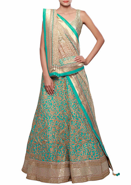 Featuring lehenga in turq silk adorn in zari thread embroidery - Saree Safari, Buy