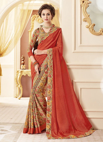 Crepe Silk Party Casual Printed Work Saree- orange - Saree Safari, Buy