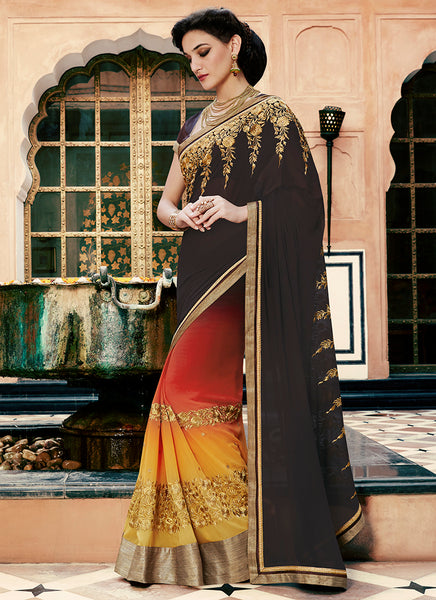 Multi Colour Party Wear Embroidered Work Saree- sunfire - Saree Safari, Buy