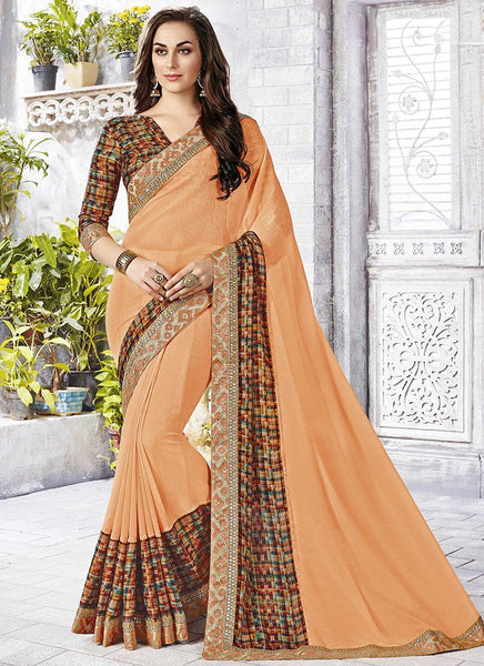 Catalog 6650: casual floral print trim sarees - peach - Saree Safari, Buy