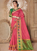 Silk Party Wear Border Work Saree- light pink - Saree Safari, Buy
