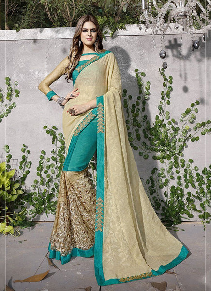 Catalog 7113: Trendy Embroidery Work Wedding Wear Sarees  - beige - Saree Safari, Buy