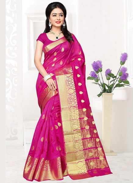 Banarasi Silk Casual Wear Zari Work Saree- rani - Saree Safari, Buy