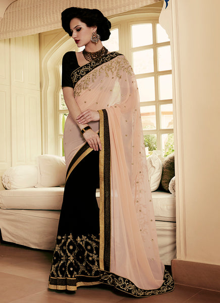 Multi Colour Party Wear Embroidered Work Saree- black - Saree Safari, Buy