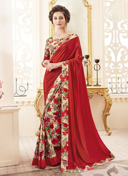 Crepe Silk Party Casual Printed Work Saree- red cream - Saree Safari, Buy