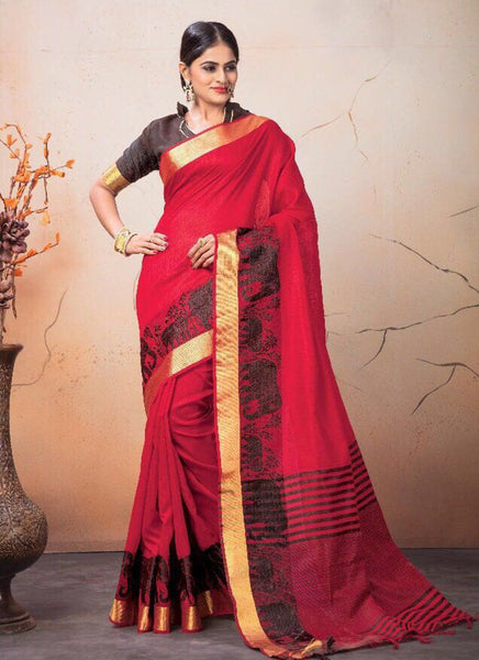 Catalog 7224: Georgette Party Wear Printed Work Sarees  - red - Saree Safari, Buy