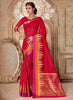 Silk Party Wear Border Work Saree- red gold - Saree Safari, Buy