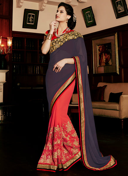 Multi Colour Party Wear Embroidered Work Saree- Navy red - Saree Safari, Buy