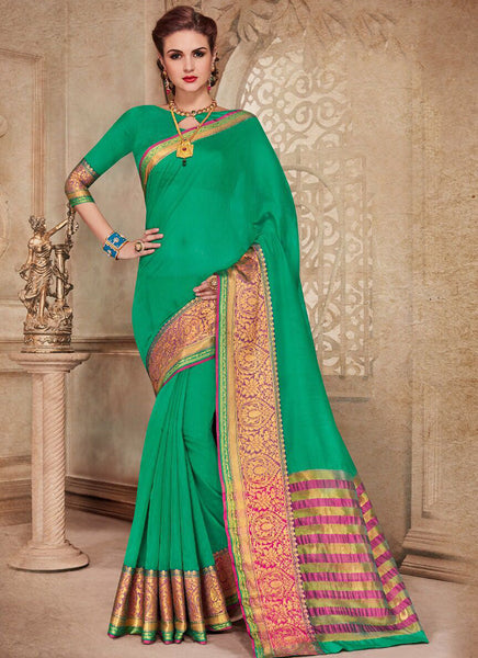 Silk Party Wear Border Work Saree- green - Saree Safari, Buy
