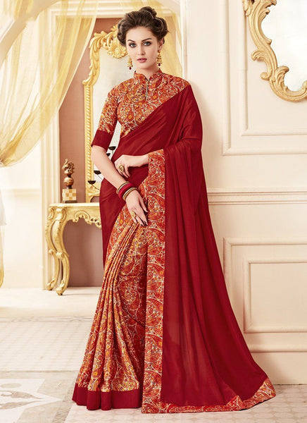 Crepe Silk Party Casual Printed Work Saree- dark red - Saree Safari, Buy