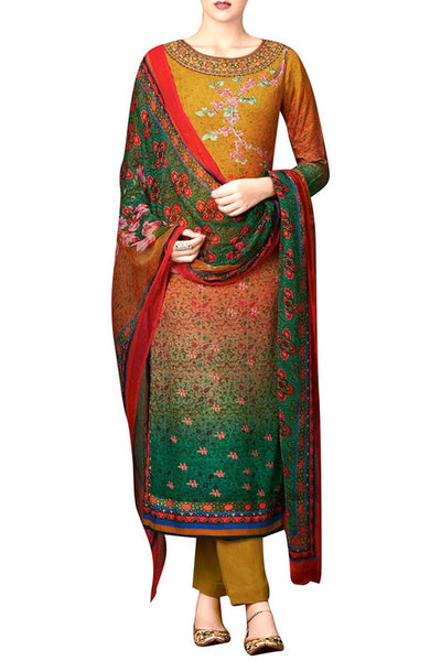 Multicolor Bamberg Chiffon Printed Straight Suit