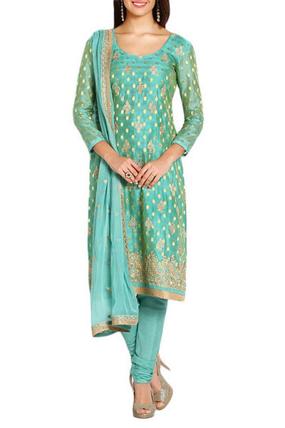 Turquoise Blue Unstitched Suit Set - Saree Safari, Buy