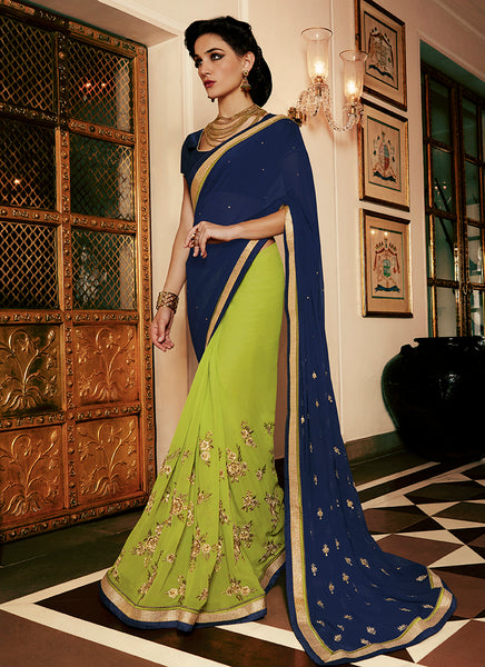 Multi Colour Party Wear Embroidered Work Saree- navy - Saree Safari, Buy