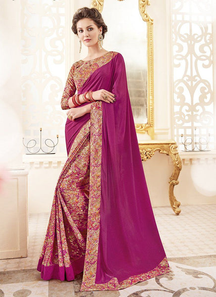 Crepe Silk Party Casual Printed Work Saree- purple - Saree Safari, Buy