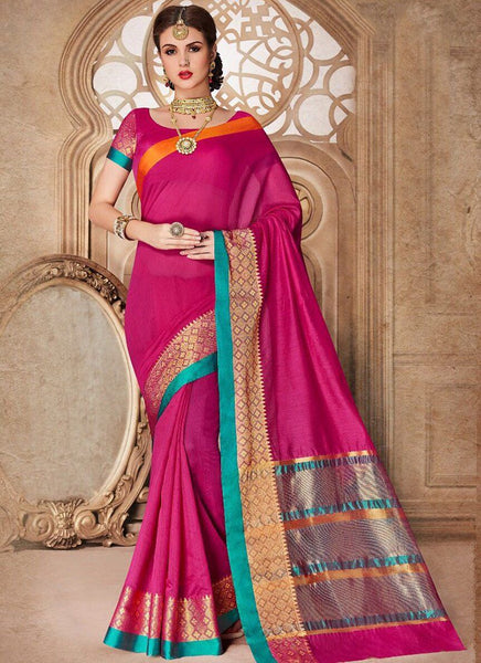 CatalSilk Party Wear Border Work Saree- rani - Saree Safari, Buy