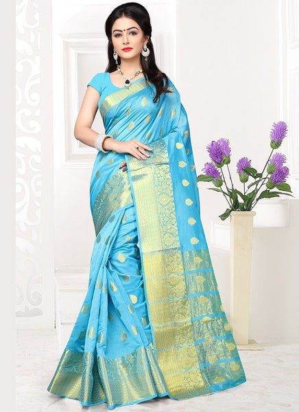 Banarasi Silk Casual Wear Zari Work Saree- sky blue - Saree Safari, Buy