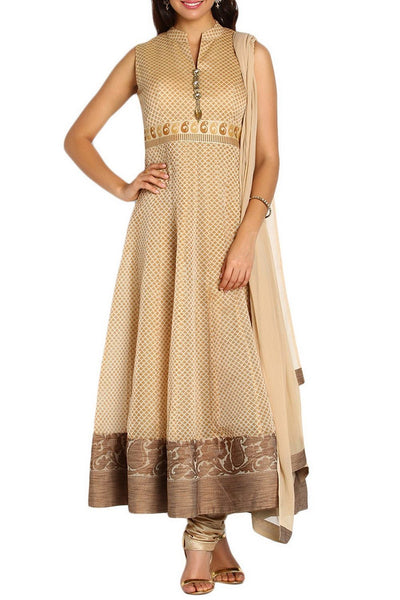 Beige Anarkali Stitched Suit Set
