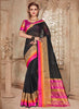 Silk Party Wear Border Work Saree- black - Saree Safari, Buy