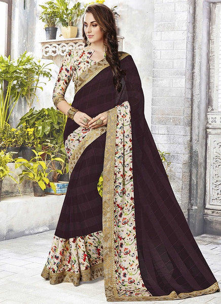 Catelog 6650: casual floral print trim sarees - brown 2 - Saree Safari, Buy