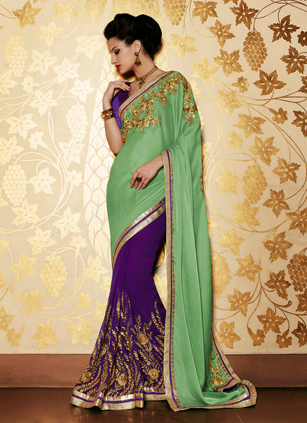 Multi Colour Party Wear Embroidered Work Saree- green - Saree Safari, Buy