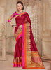 Silk Party Wear Border Work Saree- maroon pink - Saree Safari, IFX