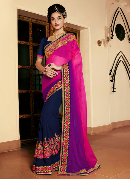 Multi Colour Party Wear Embroidered Work Saree- rani - Saree Safari, Buy