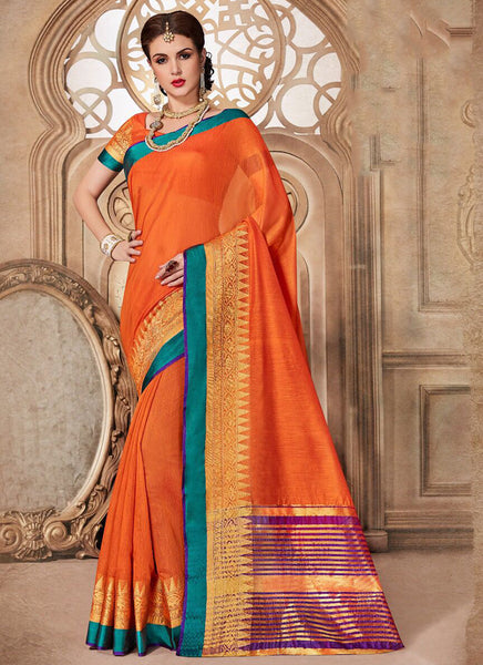 Silk Party Wear Border Work Saree- orange - Saree Safari, Buy