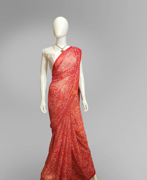 Saree in Red with Grey Henna Print - IFX