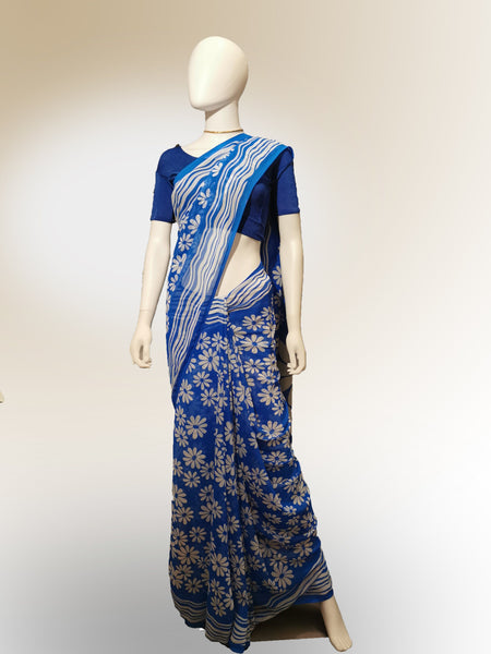 Saree in Blue with White Floral Print