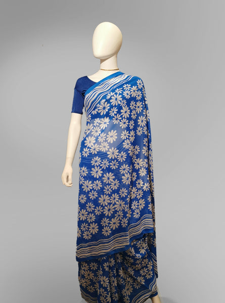 Saree in Blue with White Floral Print - IFX