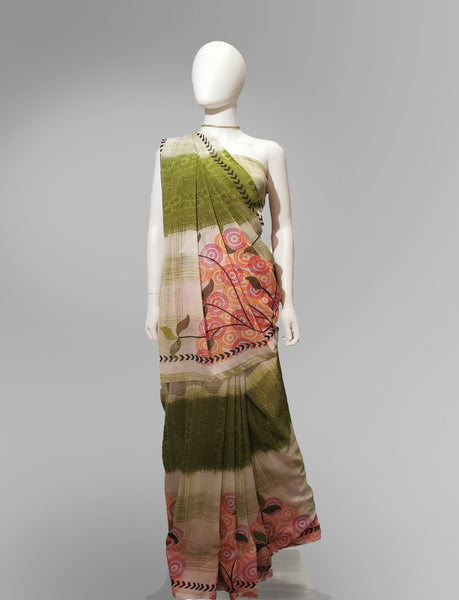 Saree in Green and Pink with Multi Patterned Print - IFX