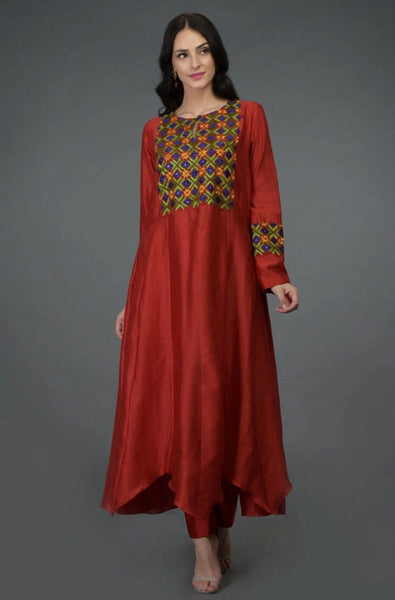 Kurti Kalidaar in Carmine Red