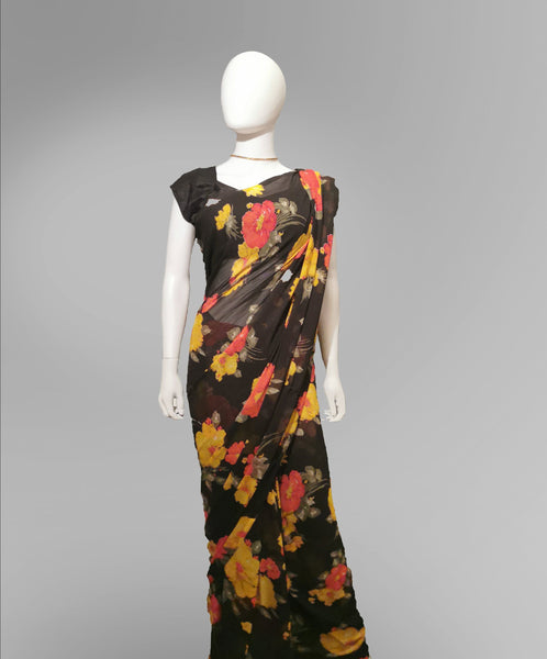 Saree in Black with Autumn Floral Print - IFX