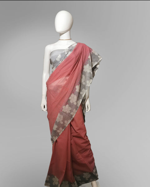 Saree in Soft Red with Gray Floral Print Along Border - IFX