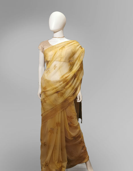 Saree in Golden Yellow with Brushed Floral Print - IFX